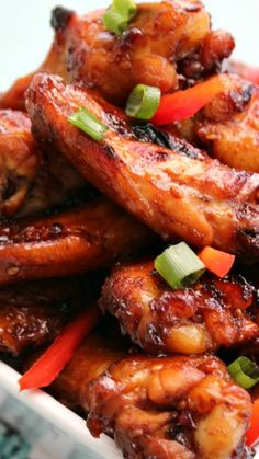 Asian Sticky Wings ~ Full of flavor with a baked crispy outer skin that makes for the perfect appetizer for movie night, party or game day get together.