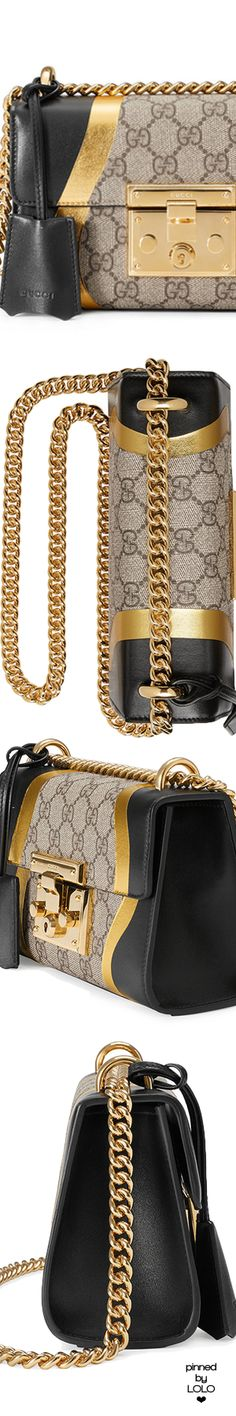 GUCCI Padlock GG Supreme and leather shoulder bag Gucci Handbags, Purses And Handbags, Leather Handbags, Designer Handbags, Gucci Bags, Designer Bags, Gucci Fashion, Fashion Bags, Luxury Fashion