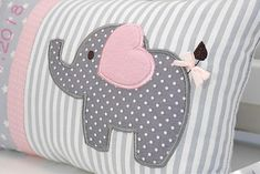 Personalized pillow for birth or baptism eefant pink cotton fabric cuddly pillow childrens pillow name pillow baby Personalisiertes Kissen zur Geburt oder Taufe Eefant rosa Fluffy Pillows, Baby Pillows, Kids Pillows, Baby Sewing Projects, Sewing Crafts, Cuddle Pillow, Elephant Quilt, Elephant Applique, Personalized Pillows