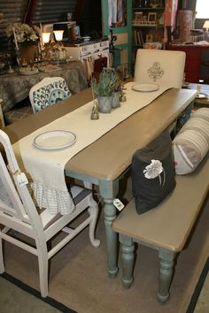 I picked up this boring, light wood table with a matching bench at a yard sale.  I see this kind of table everywhere, but I decided t...