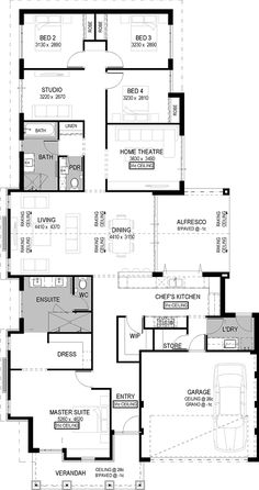 Floor Plan Friday: Raked ceiling-I like garage entry, laundry, pantry, kitchen New House Plans, Dream House Plans, House Floor Plans, The Plan, How To Plan, Home Design Floor Plans, Plan Design, Casa Top, Raked Ceiling