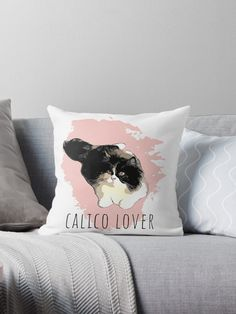 """""""Calico Cat Lover"""" Throw Pillow by MsD7   Redbubble Floor Pillows, Throw Pillows, Fluffy Cat, Cat Design, Cat Lovers, Vibrant, Pets, Artist, Toss Pillows"""