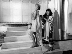 """Isa Barzizza and Macario (Erminio Macario) in Mario Mattoli's comedy """"Adamo ed Eva"""" (English title: """"Adam and Eve""""; 1949)."""