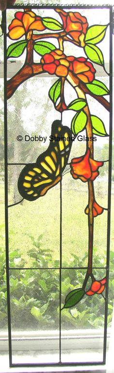 Stained Glass Panel Butterfly with Flowers Handmade