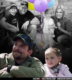Chris Kyle, wife Taya Kyle and kids. Bottom: Bradley Cooper as Kyle with daughter in Clint Eastwood's American Sniper war movie. Learn more at American Sniper: History vs. Hollywood - http://www.historyvshollywood.com/reelfaces/american-sniper/