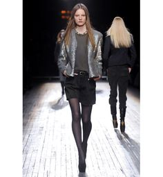 Theyskens' Theory: shorts and lightweight tights.  Get the look: Show some skin with semi-sheer legwear like Falke Pure Matte 50 Denier Tights, $38. (Helpful hint: Denier refers to the thickness of the fabric; more opaque tights are usually 70 denier and above.)