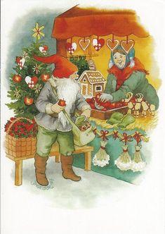 """Vintage """"God Jul"""" Christmas postcard... A Christmas Market Stall."""
