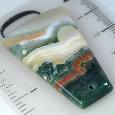 45.39Ct LONG/UNIQUE Natural Ocean Jasper (40mm X 26mm) DRILLED Pendant Bead