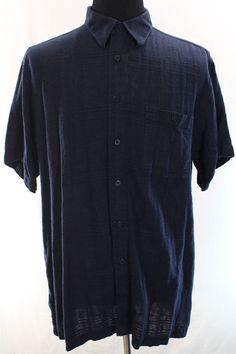 Marc Edwards Shirt Mens XXL Blue Short Sleeve Buttonn Front Washable Linen Rayon #MarcEdwards #ButtonFront