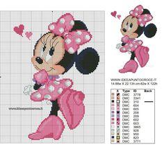 Free cross stitch patterns by Disney Cross Stitch Patterns, Cross Stitch Designs, Cross Patterns, Cross Stitch Baby, Cross Stitch Charts, Stitch Disney, Stitch Cartoon, Mickey Minnie Mouse, Minnie Baby