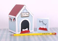 Printable Paper Dog House Treat Box {Etsy}