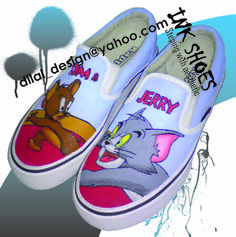 Tom and Jerry Painted Shoes | hand painted shoes design tom and jerry type slip on rm65 size us for ...