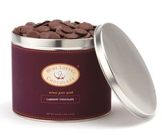 Wine Lover's Chocolate in Bulk | 55% Cabernet Chocolate More chocolate, less fuss: What could be easier than a bulk pail of Wine Lover's Chocolate? These elegantly labeled pails are filled to the brim with four pounds of our premium dark chocolates. The bulk pail is perfect for wineries and large tasting rooms who wish to feature single varietals of red wine, or for the average consumer who just can't get enough of our delicious drops!   (4lb) http://bridgebrandschocolate.com