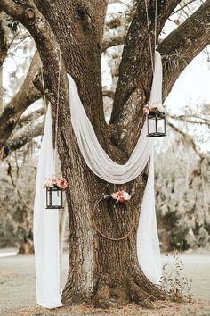 Lush Rustic Jensen Beach Wedding at The Mansion at Tuckahoe Draped white linen, hanging lanterns and floral wreaths made for a dreamy, rustic ambience at this outdoor ceremony Image from Brandi Toole Photography Spring Wedding, Dream Wedding, Perfect Wedding, Magical Wedding, Wedding Ceremony, Wedding Venues, Wedding Favors, Wedding Table, Dessert Wedding