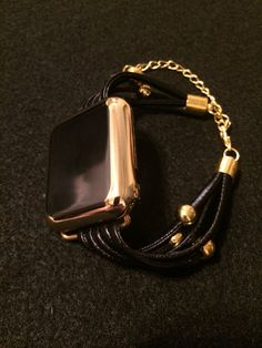 Apple Watch Bracelet Bands Black Leather Straps 38 mm by TimeKits