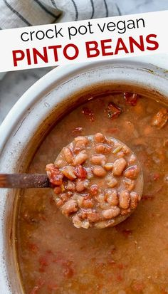 Easy Crock Pot Vegan Pinto Beans are a must-try pinto bean recipe! Perfect for spooning over rice, or turning into vegan refried beans. These vegan pinto beans are much healthier than the traditional pinto bean recipe and JUST as delicious! Super easy to make in the crockpot with the press of a button. This easy bean recipe is a family favorite, and I know you'll love it too! Give it a try this week!