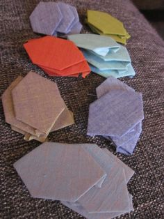 DUDQS (round 3) English paper piecing elongated hexies in shot cotton (looks like silk), via Flickr.