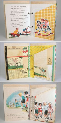 Let's Play child's vintage style scrapbook mini by KBandFriends