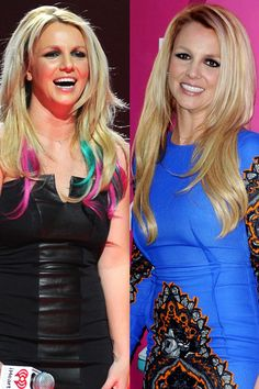 Britney Spears    The X Factor judge debuted multi-toned tips on stage at the 2012 iHeartRadio concert in Las Vegas on September 22.
