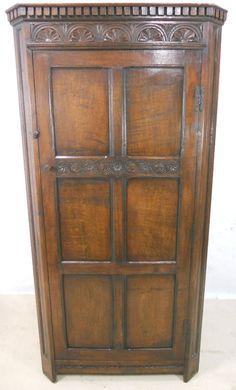 Antique Style Carved Oak Corner Wardrobe - SOLD