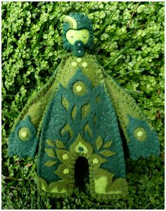 https://flic.kr/p/4xVypB | Green Muju Man Of Spring | NEW Handmade felt toys :  www.mujuworld.co.uk/shop  www.muju.etsy.com