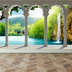 Wall Mural Waterfall in deep Forest Arch structure, Peel and Stick Repositionable Fabric Wallpaper for Interior Home Decor Custom Wall Murals, 3d Wall Murals, Floor Murals, Fabric Wallpaper, Of Wallpaper, Wallpaper Paste, Nature Wallpaper, Trendy Wallpaper, Beautiful Flowers Garden