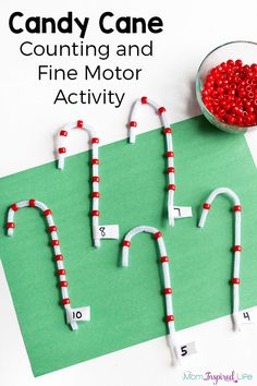 Counting Activity with Beads Christmas candy cane counting activity and fine motor practice. A fun Christmas activity for preschoolers!Christmas candy cane counting activity and fine motor practice. A fun Christmas activity for preschoolers! Preschool Christmas Activities, Counting Activities, Preschool Activities, Winter Activities, Holiday Fine Motor Activities, Preschool Teachers, Preschool Learning, Theme Noel, In Kindergarten