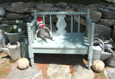 garden bench from an old bed frame (headboard and footboard).  instructions given.