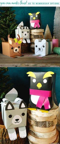 Printable Animal Gift Wrap on www.LiaGriffith.com #giftwrapping #giftwrap #holidaygiftwrap #holidaydiy #diyholiday #diychristmas #christmasdiy