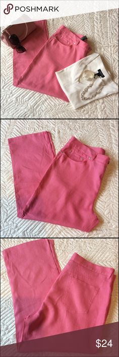 Ralph Lauren Linen Jeans NWOT Enjoy a summer night in these beautiful pink linen jeans. These are 100% Linen. Machine wash /dry low  The inseam is 27 inches. At the hem is a detail of a side silt about 2 inches. The waist is approx 38 inches This is a lose straight leg, and there is belt loops at waist. Bundle to save 20% Ralph Lauren  Pants Straight Leg