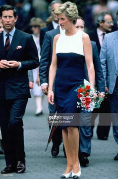 Charles and Diana, Prince and Princess of Wales, during their official visit to Hungary on May 10, 1990 in Budapest, Hungary.