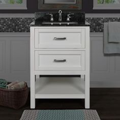 "Miseno MV102924 Rimini 24"" Free Standing Vanity Cabinet with Wood Cabinet Natur White / Emerald Pearl Top Fixture Vanity Single"