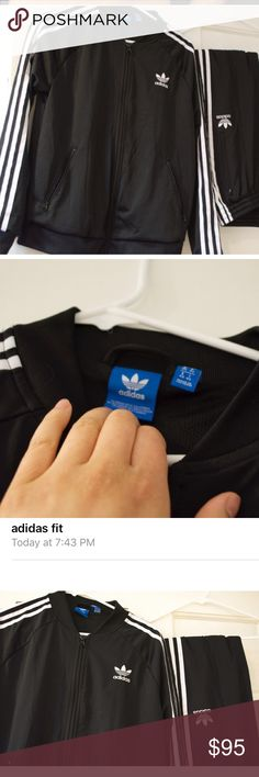 """Adidas joggers fit (medium) SALE‼️ I wore it once and washed it so I don't consider it """"brand new"""" but in great condition. Yes, it comes as a set. NO TRADES OR LOW BLOWS ‼️ Adidas Other"""