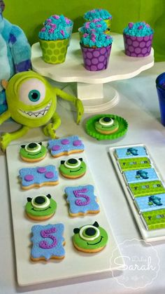 Cool cookies at a Monsters Inc. birthday party! See more party ideas at CatchMyParty.com!