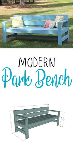 Build your own modern style park bench.  Sturdy 2x4 frame, easy to build design using off the shelf materials and basic tools.  Free plans from Ana-White.com #anawhite #parkbench #modern #diy #outdoorbuild #woodworking Building Furniture, Diy Furniture Projects, Woodworking Projects Diy, Diy Wood Projects, Art Projects, Woodworking Plans, Woodworking Logo, Furniture Design, Garden Junk