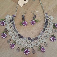Braid Jewelry – Ayşe Kaya – Join the world of pin Crochet Necklace Pattern, Crochet Bracelet, Crochet Earrings, Fabric Jewelry, Beaded Jewelry, Handmade Jewelry, Crochet Flower Tutorial, Crochet Flowers, Crochet Designs