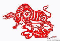 Chinese paper cutting: 12 Chinese zodiac bull