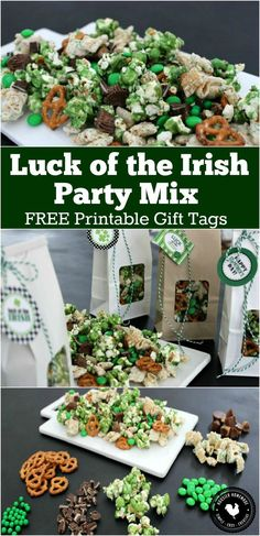 This Luck of the Irish Party Mix is as fun to make as it is to eat! Go green for St. Whip up a batch to enjoy at home or give as gifts! Pin to your Re(Easter Baking For Toddlers) Go Green, Wow Recipe, St Patricks Day Food, Free Printable Gift Tags, Free Printables, Party Mix, Luck Of The Irish, Irish Luck, Chex Mix