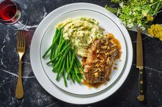 Bacon-wrapped steak, need I say more? This pan-seared steak gets the royal treatment with salty, crispy bacon and a rich pan sauce. Creamy mash and garlicky green beans round out this winning weeknight dish. Bacon Wrapped Steak, Pan Seared Steak, Hello Fresh Recipes, Creamy Mash, Beef Steak, How To Cook Steak, Pork Ribs