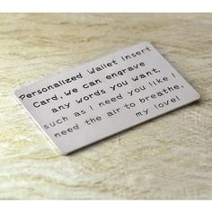 Alloy Wallet Insert Card any words to engrave Alloy Wallet Insert,Gift for Father,Boyfriend,Husband  gift for men