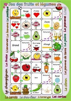 Jeu des fruits et légumes French Flashcards, French Worksheets, Learn French Fast, How To Speak French, French Images, Child Teaching, French Grammar, French Classroom, French Resources