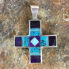 David Rosales Shalako Inlaid Sterling Silver Two-Sided Cross Pendant