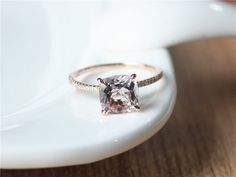 8x8mm Cushion Cut Morganite Ring Rose Gold Morganite by ByLaris