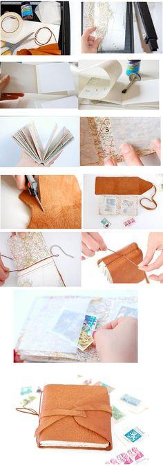 Leather bound journal - Android translates to english. 手工皮本本,每个女孩子都应该拥有一个。