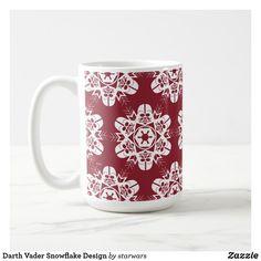 Darth Vader Snowflake Design Coffee Mug Christmas Mugs, Christmas Card Holders, Christmas Holidays, Star Wars Mugs, Star Wars Gifts, Star Wars Store, Red Lightsaber, Paper Snowflakes, Snowflake Designs