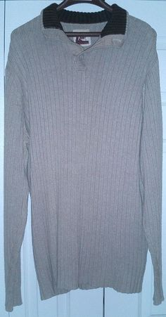 Old Navy Beige Pull-On Sweater with Brown Henley Collar Men's Size XL Tall #OldNavy #Polo