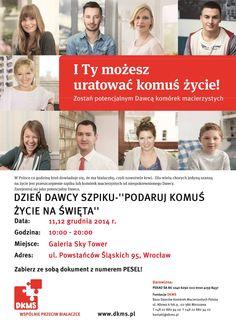 W dniach 11 i 12 grudnia w godzinach od 10:00 do 20:00 na poziomie +1 Galerii odbędą sie Dni Dawcy Szpiku.