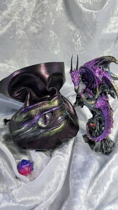 Dice Bag in stunning Purple/Black Leather with a Hand Painted Dragons Eye by EmBraceLeather on Etsy