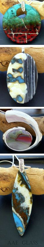 Gorgeous jewelry pieces. Great use of reactive glass.