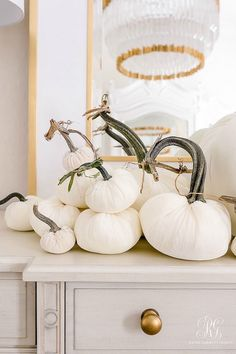 Golden Harvest Fall Home Tour - come tour our home styled with white and gold for fall. Tons of ideas for elegant fall decorating Velvet Pumpkins, White Pumpkins, Rustic Wall Decor, Rustic Walls, Elegant Home Decor, Elegant Homes, Home Decor Trends, Diy Home Decor, Room Decor